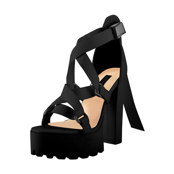 Open Toe Black Cross Strap Platform Block Heel Sandals
