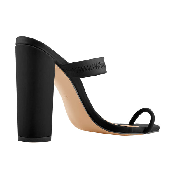 Black Chunky High Heel Mules Toe Ring Sandals