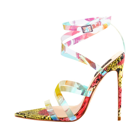 Snake Pointed Open Toe PVC Strap Sandals