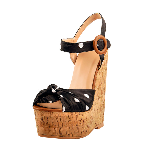 Womens Polka Dot Ankle Strap Wedge Platform Sandals Open Toe Wood Heel Casual Party Dressing Shoes with Knot