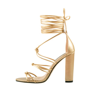 Gladiator Lace up Chunky High Heel Sandals
