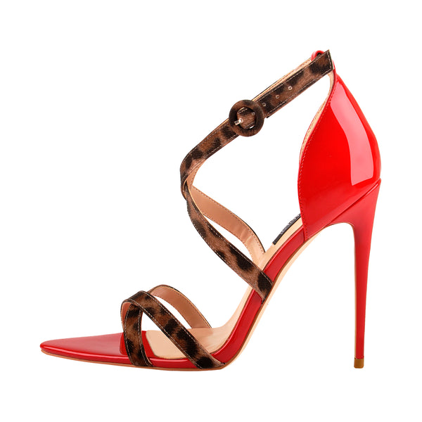 Criss Cross Leopard Ankle Strap Stilettos Sandals