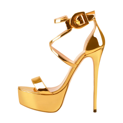 Golden Metallic Luster Platform Stiletto Ankle Strap Crisscross Sandal