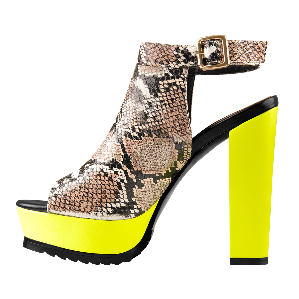 Snake Print Peep Toe Slingbacks Ankle Boots With Yellow Platform