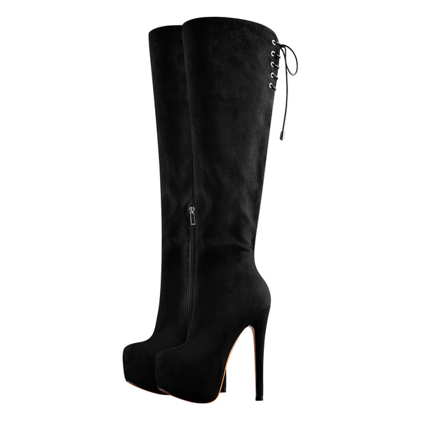 Black Suede Leather Round Toe Platform High Heels Over The Knee Boots