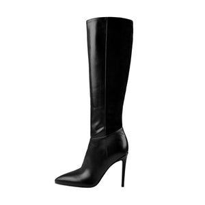 Suede Patchwork Pointed Toe Stiletto Side Zip Wide Calf High Boots