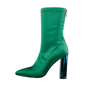 Breathable Pointed Toe Chunky Heels Green Ankle Boots