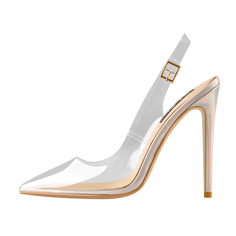 Transparent Pointed Toe Slingback Holographic Stiletto High Heel Pumps