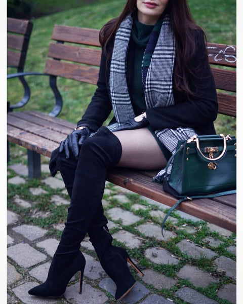 Stretch Over the Knee High Boots for Women Pointed Toe Stiletto Booties