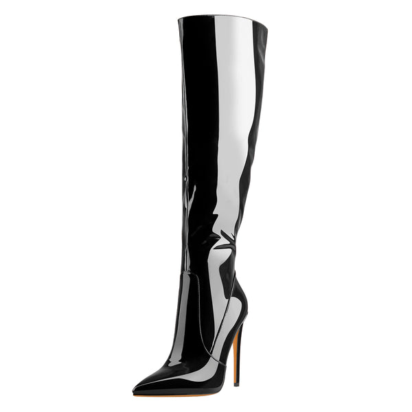 Black Patent Leather Zip Pointed Toe Knee High Boots