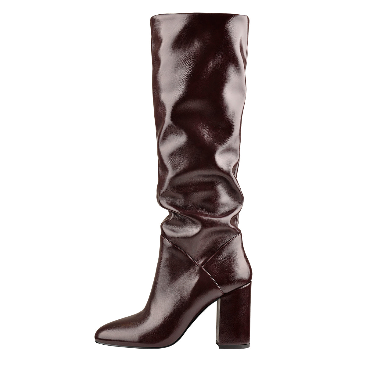 Rounde Toe Crinkle Mid Calf Chunky Heels Boots