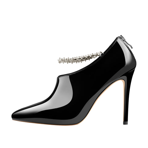 Pointed Toe Rhinestone Chain Patent Leather Stiletto High Heel Booties