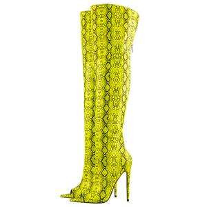 Open Toe Snake Fluorescent Color Stiletto High Heel Over The Knee Boots