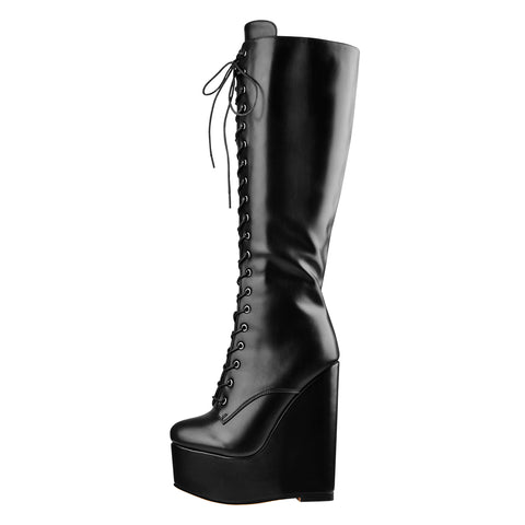Round Toe Wedge Heel Lace Up Zip Over the Knee Boots