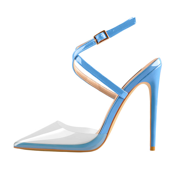 Pointed Toe Slingback High Heels Powderblue Sandals with Cross Strap