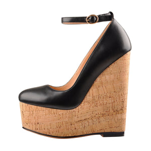 Wood Grain Platform Wedges Round Toe Buckle Strap Pumps