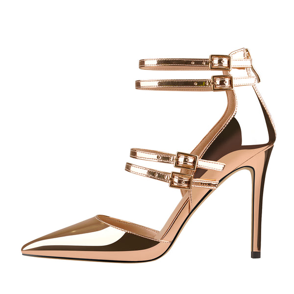 Golden Pointed Toe Double Buckle Strap High Heels Pumps