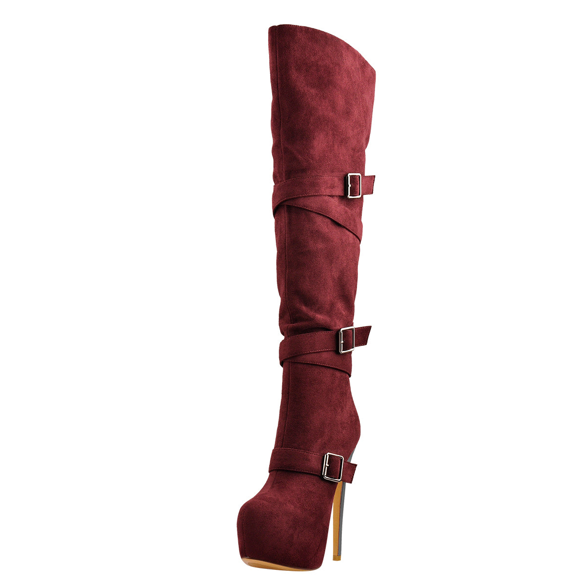 Red Suede Platform Buckle Stiletto Over The Knee High Boots