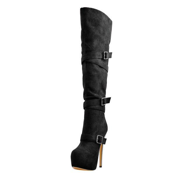 Black Suede Platform Buckle Stiletto Over The Knee High Boots