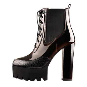 Black Brown Platform Chunky Heels Ankle Boots