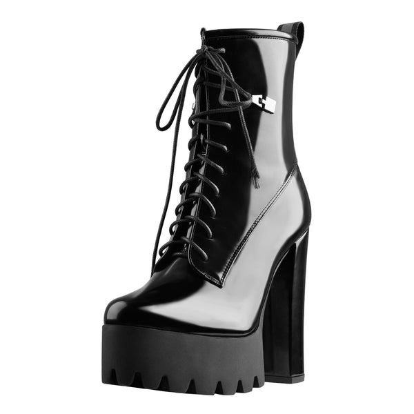 Lace Up Platform Round Toe Chunky Heels Patent Leather Ankle Boots