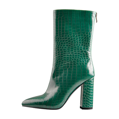 Pointed Toe Stone Pattern Chunky High Heels Darkseagreen Ankle Boots