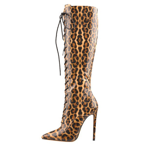 Lace up Leopard Pointed Toe Knee High Boots