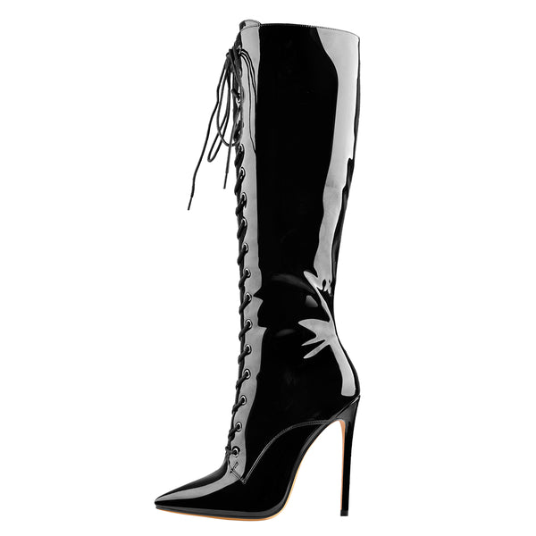 Black Patent Leather Lace Up Pointed Toe Knee High Boots