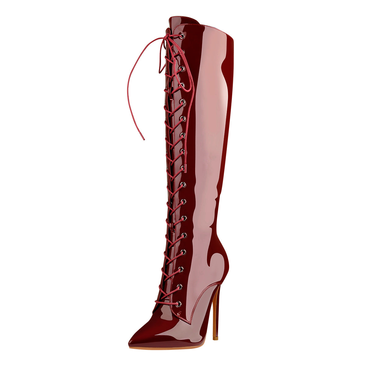 Red Patent Leather Lace Up Pointed Toe Knee High Boots