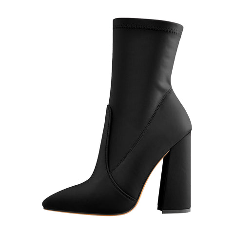 Pointed Toe Minimalistic Stretch Chunky Block High Heels Ankle Booties