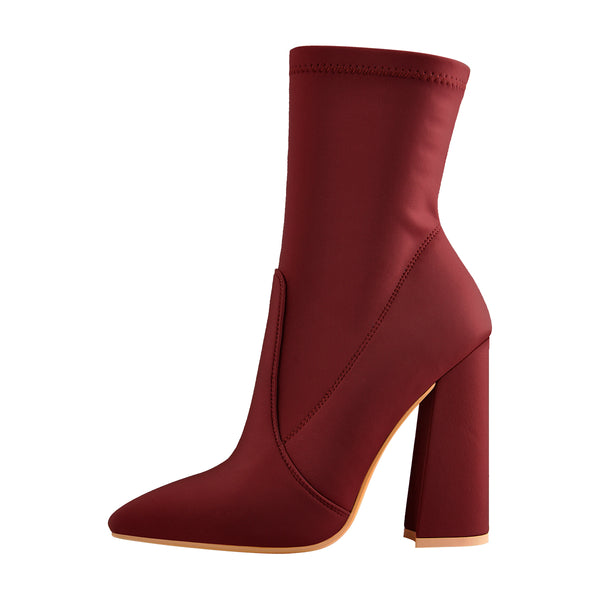 Pointed Toe Minimalistic Stretch Chunky Block High Heels Red Ankle Booties