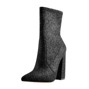 Pointed Toe Glitter Stretch Chunky Block High Heels Ankle Booties