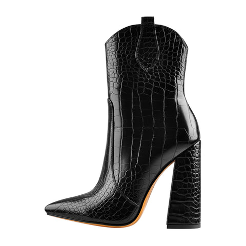 Black Crocodile Pointed Toe Squre Chunky Ankle Boots