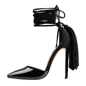 Lace up Gladiator Pointed Toe Tassel Stiletto Heeled Strappy Sandals