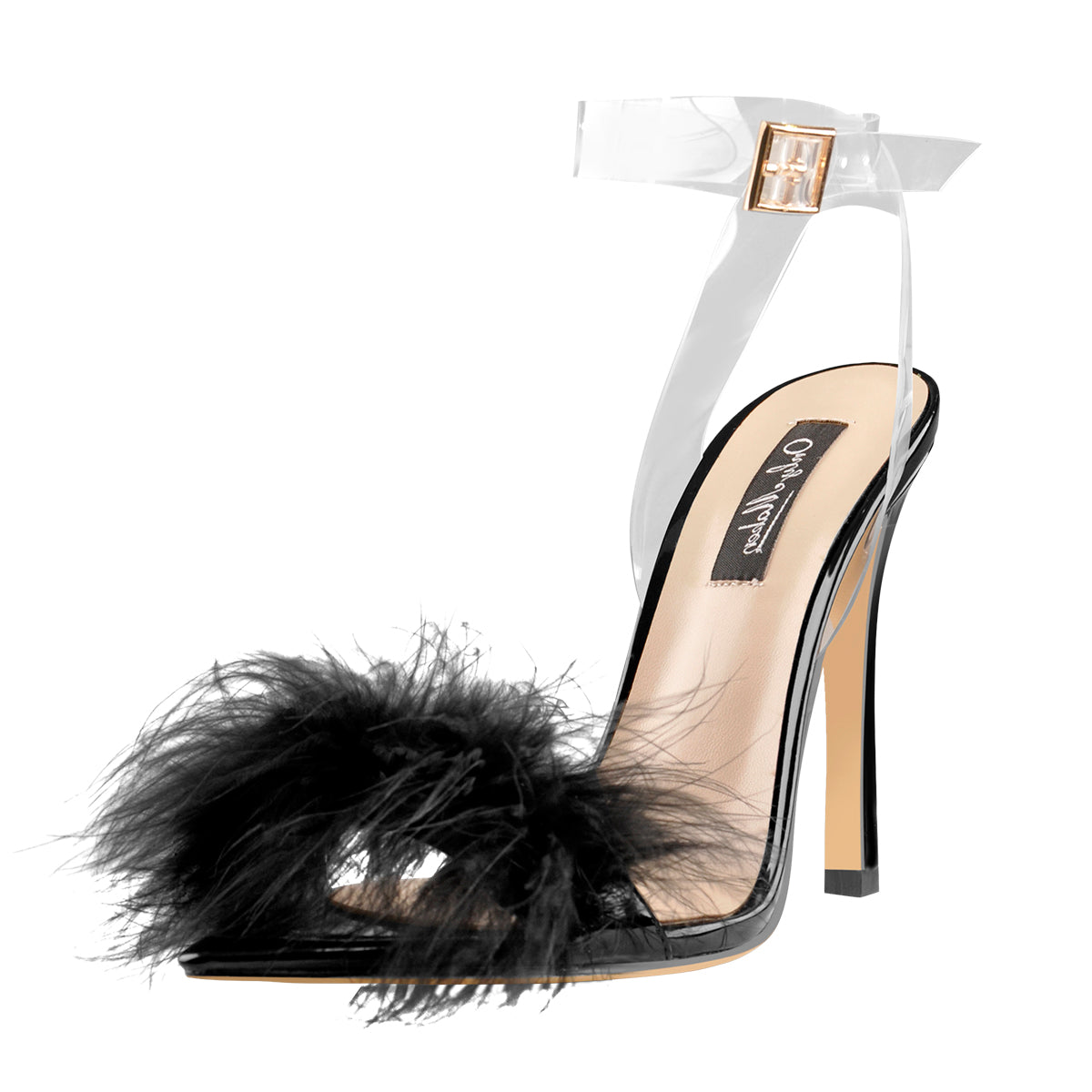 Black Feather High Heel Clear Strap Stilettos Sandals