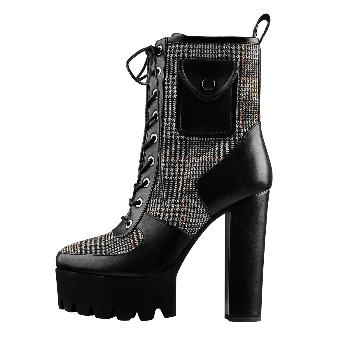 Black Platform Lace Up Chunky Heel Mid Calf Pocket Fashion Boots