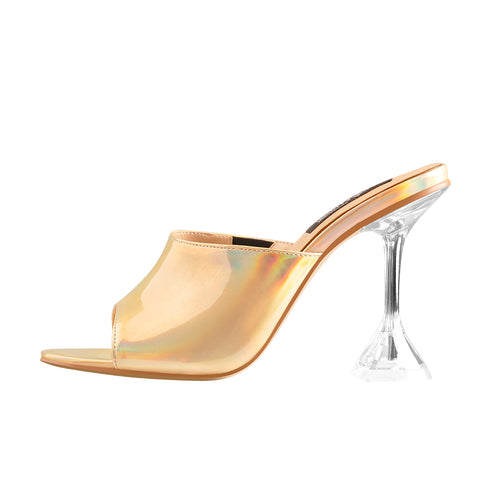 Golden Holographic Transparent Tapered Heel Sandals Mules