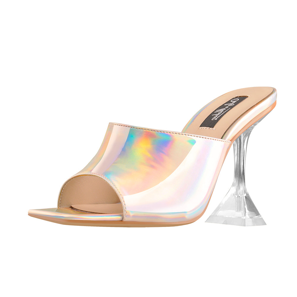 Holographic Transparent Tapered Heel Sandals Mules