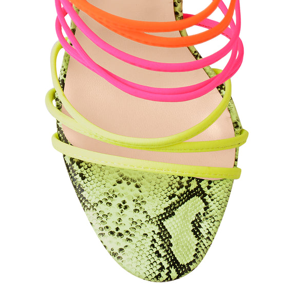 Fluorescent Snake skin Elastic Multicolor Slip On Clear Square Heel Sandals