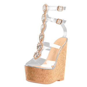 Transparent Gem Strip Cutout Wood Grain Wedge Sandals