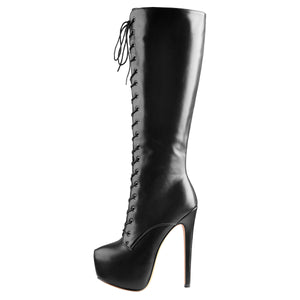 Black Leather Platform Lace-Up High Over The Knee High Heel Boot
