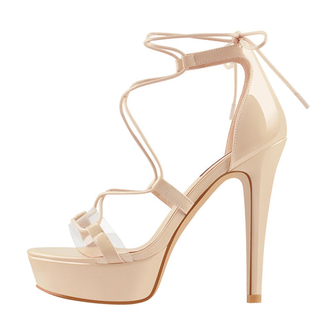 Cross Lace-up Baby Pink Platform Stiletto High Heels Sandals
