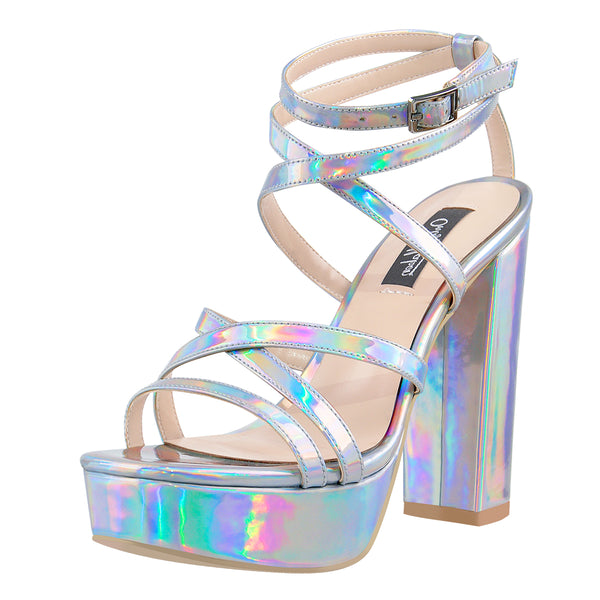 Holographic Open Toe Platform Cross Ankle Strap Chunky Square Heels Sandals