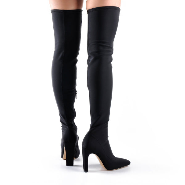 Stretchy Square Toe Block Heel Over the Knee Boots