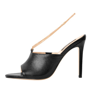 Black Snake Golden Chain Print Open Toe High Heels Sandals Mules