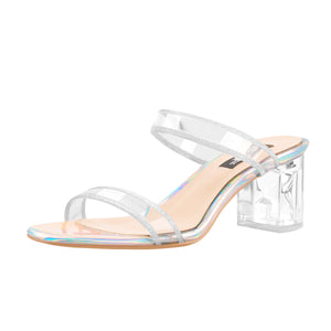 Glitter Clear Band Holographic Slip-On Transparent Perspex Chunky Heels Sandals Mules