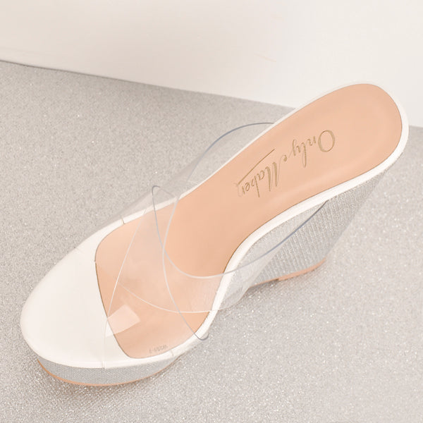 Platform Criss Cross Transparent Strap Slip On Glitter High Heels Wedge Sandals Mules