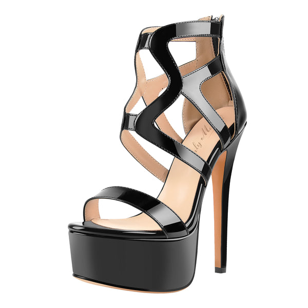 Black Platform Gladiator Cut Out Stilettos High Heels Sandals