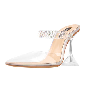 Transparent Pointed Toe Colorful Rhinestones Band Clear Tapered High Heel Sandals Mules