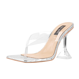 Silver Snake Print Square Toe Transparent Tapered High Heel Thong Sandals